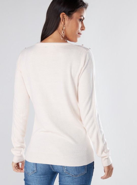 Textured Long Sleeves Sweater with Round Neck and Button Detail