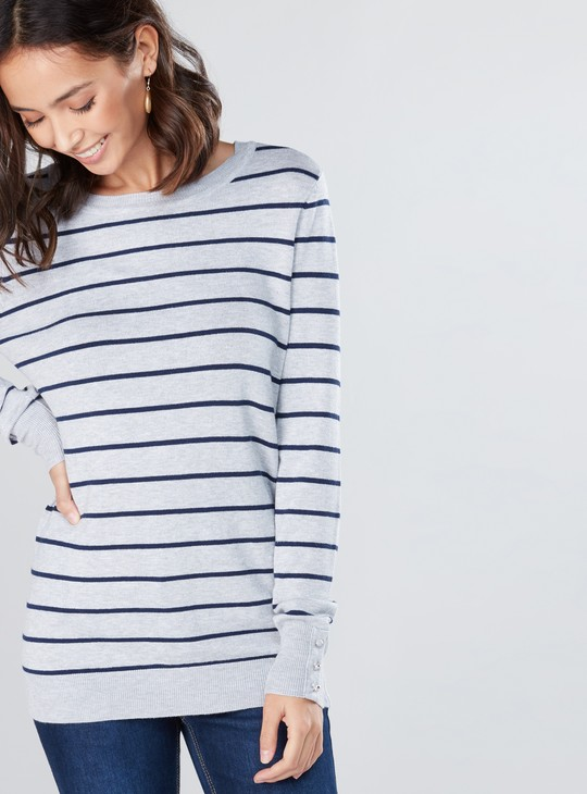 Striped Round Neck Sweatshirt with Long Sleeves and Button Detail