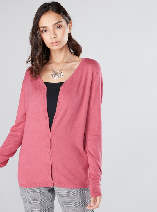V-Neck Cardigan with Long Sleeves and Press Button Closure