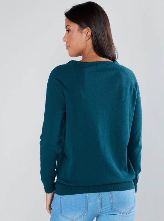Long Sleeves Sweater with Complete Placket