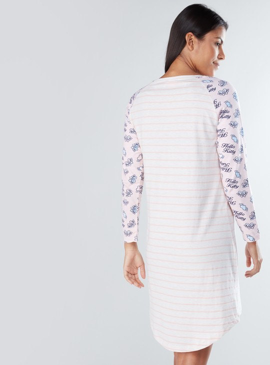 Hello Kitty Printed Sleep Dress with Round Neck and Long Sleeves