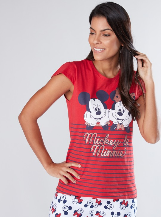 Mickey Mouse Printed Cap Sleeves T-Shirt with jog Pants