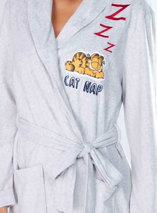Garfield Printed Robe with Pocket Detail and Tie Ups