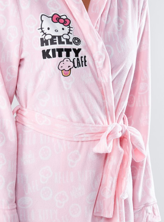 Hello Kitty Printed Robe with Tie Ups