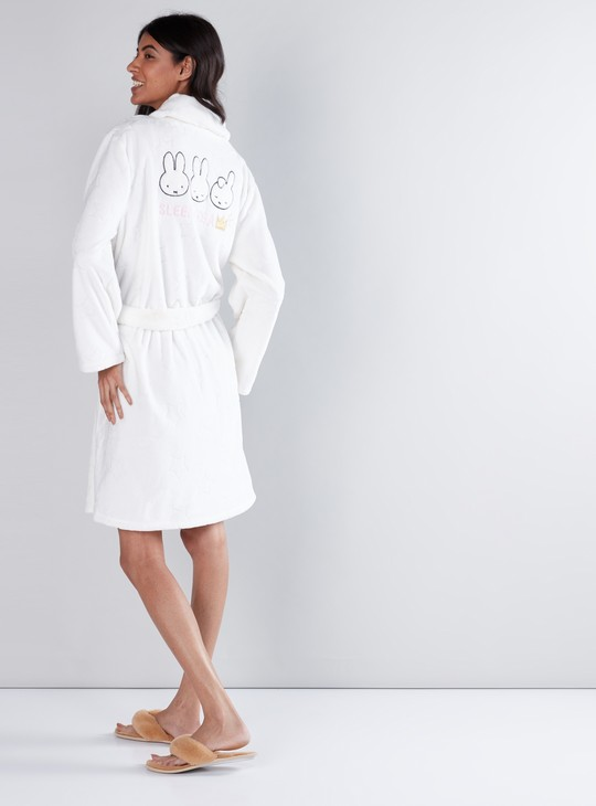 Embroidered Robe with Long Sleeves and Tie-Up