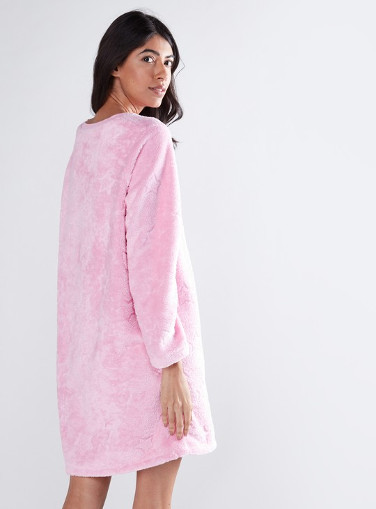 Plush Sleep Dress with Embroidered Detail
