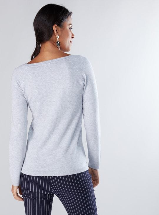 Pearl Detail Sweater with Raglan Sleeves