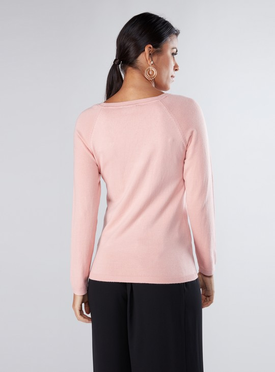 Pearl Detail Sweater with Raglan Sleeves