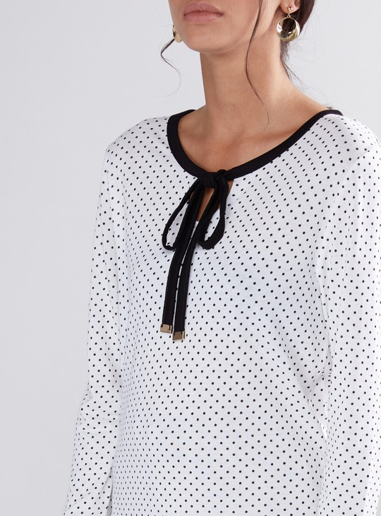 Polka Dots Printed Top with Long Sleeves and Tie Up Neck