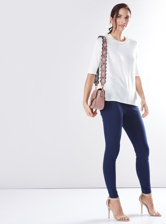 Pearl Detail Sweater with Round Neck and Short Sleeves