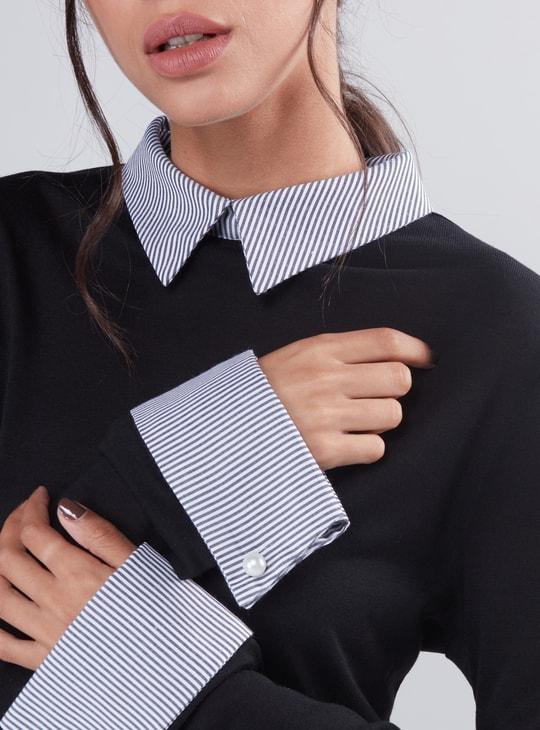 Long Sleeves Mock Shirt Top