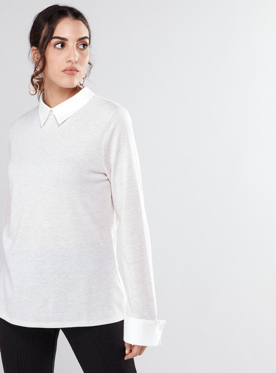 Long Sleeves Top with Mock Collar