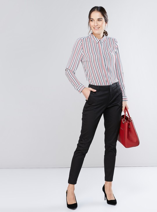 Full Length Mid-Rise Trousers with Pocket Detail