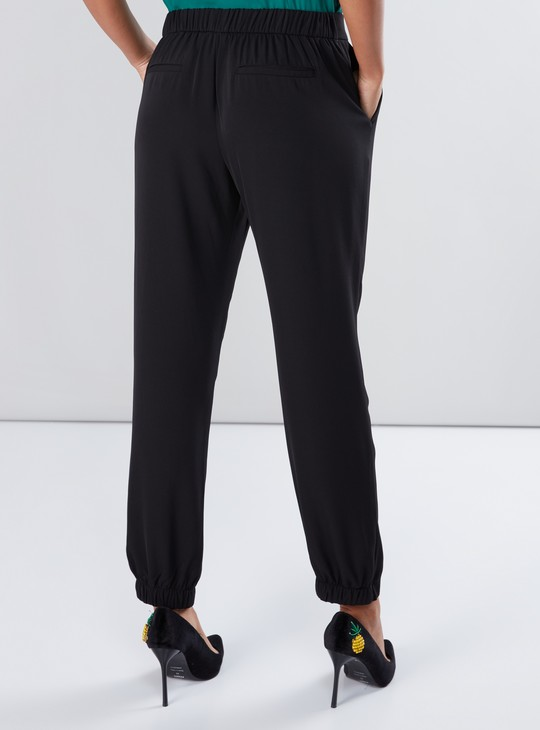 Full Length Mid-RisePants with Elasticised Waistband and Pocket Detail