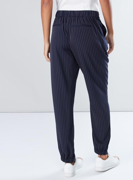 Striped Full Length Jog Pants with Pocket Detail