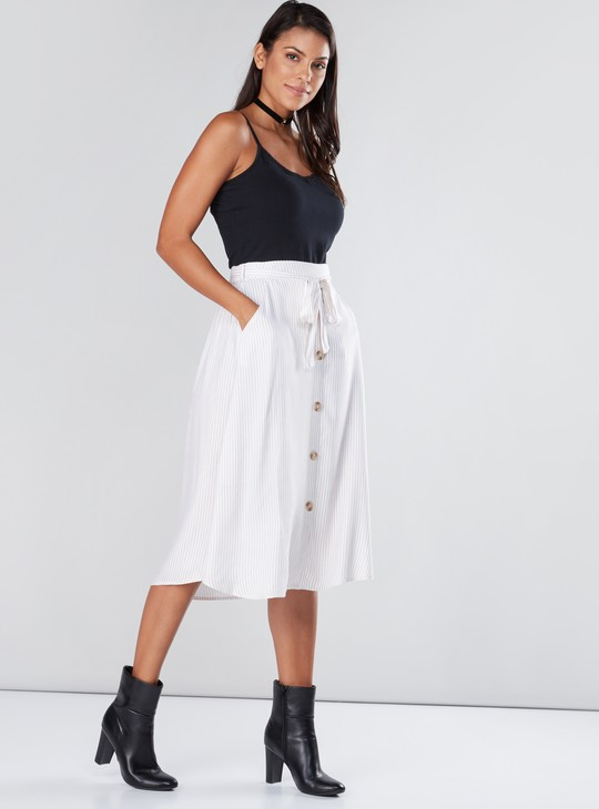 Striped Midi Skirt with Button Detail and Tie Up Belt
