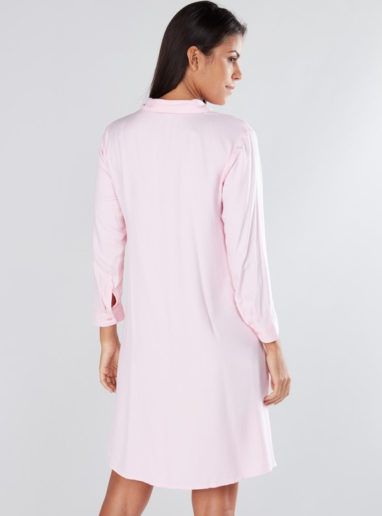 Pearl Detail Shirt Dress with Long Sleeves and Complete Placket