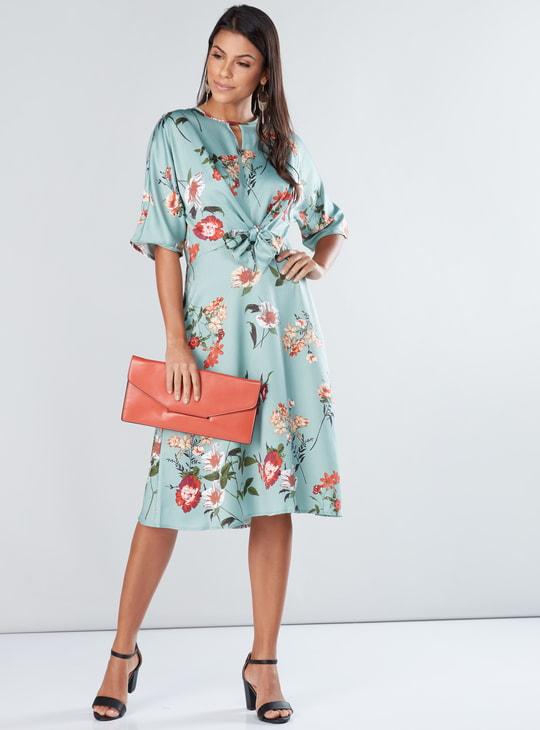 Printed Midi Dress with Short Sleeves