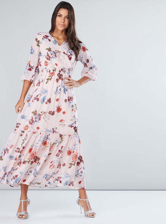 Printed Maxi Dress with 3/4 Sleeves