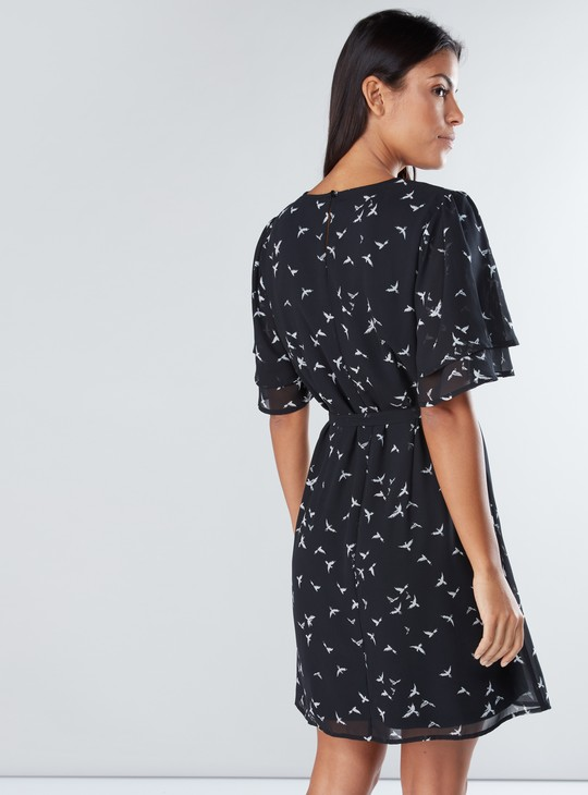Printed Midi Dress with Round Neck and Tie Up Belt