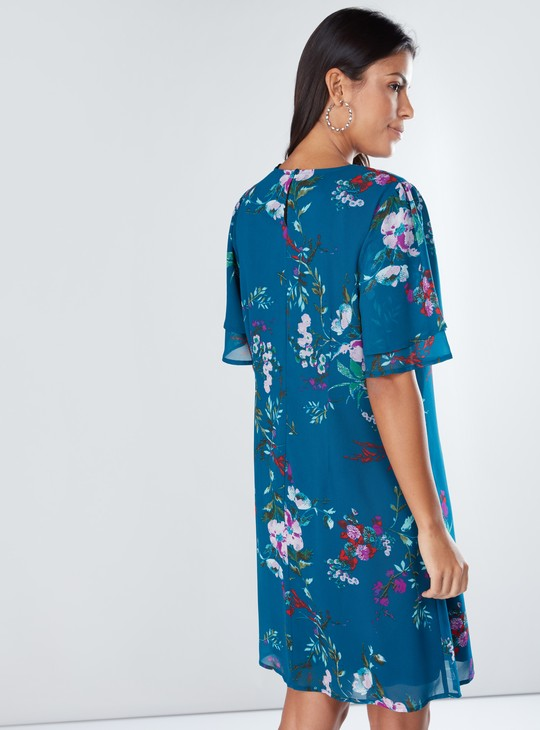 Floral Printed Midi Dress with Round Neck and Short Sleeves
