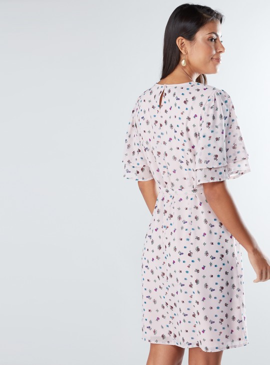 Floral Printed Midi Dress with Round Neck and Tie Up Belt