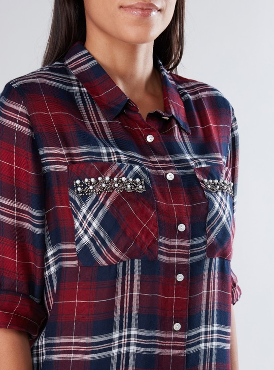 Chequered Shirt with Long Sleeves and Embellished Pockets