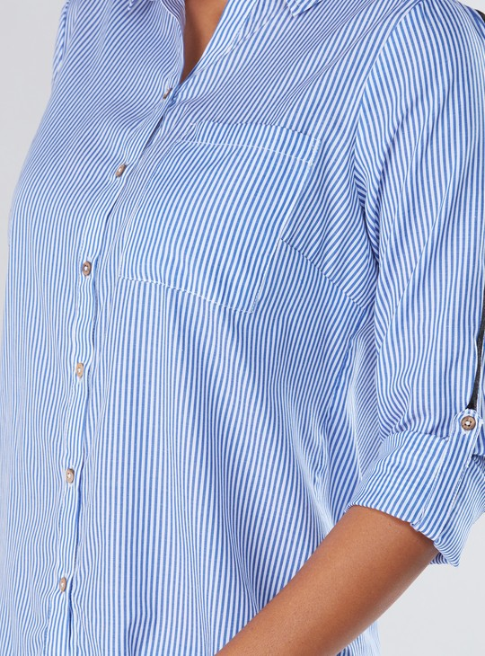 Striped Long Sleeves Shirt with Complete Placket and Tape Detail