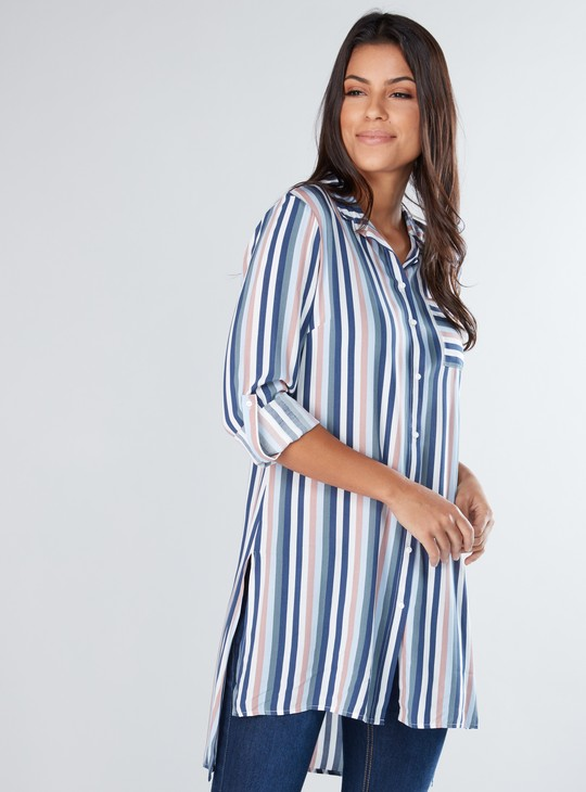 Striped Tunic with Long Sleeves and Pocket Detail