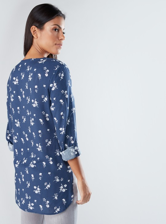 Floral Asymmetric Shirt with Long Sleeves and Tie Ups