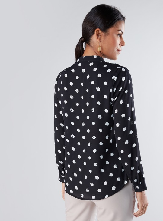 Printed Top with Long Sleeves and Pussy Bow Detail
