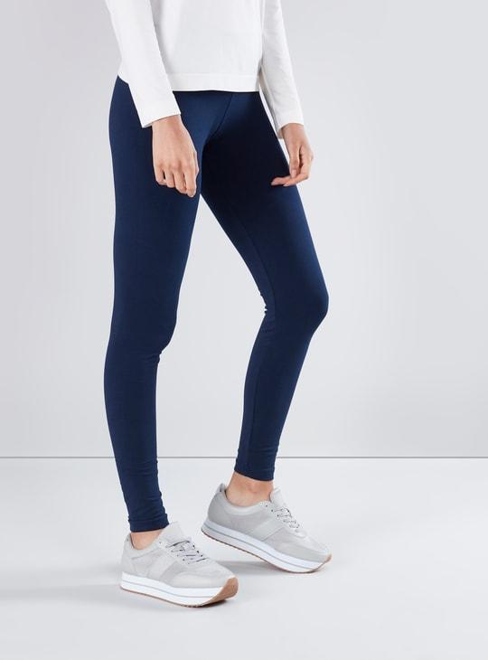 Full Length Plain Leggings with Elasticised Waistband