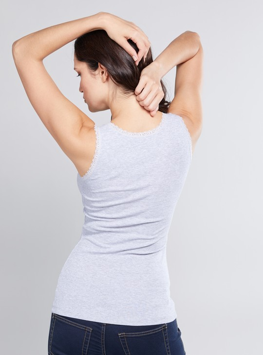 Solid Round Neck Sleeveless Vest with Lace Trim