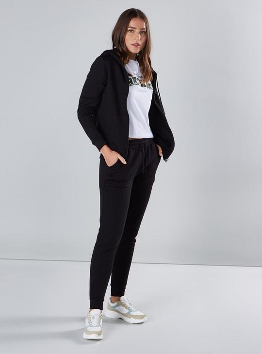 Plain Hoodie with Long Sleeves and Zip Closure