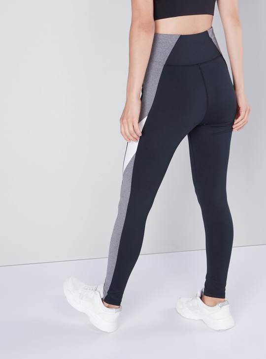 Full Length Slim Fit Panelled Leggings with Elasticised Waistband