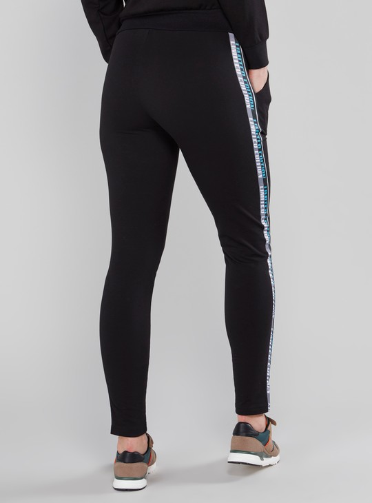Tape Detail Track Pants with Drawstring and Pocket Detail