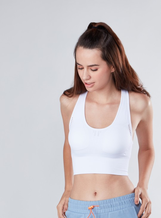 Slim Fit Textured Sports Bra with Scoop Neck and Racerback
