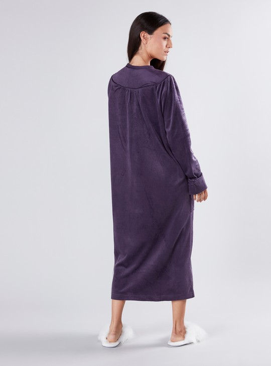 Embroidered Sleep Dress with Long Sleeves and Pocket Detail