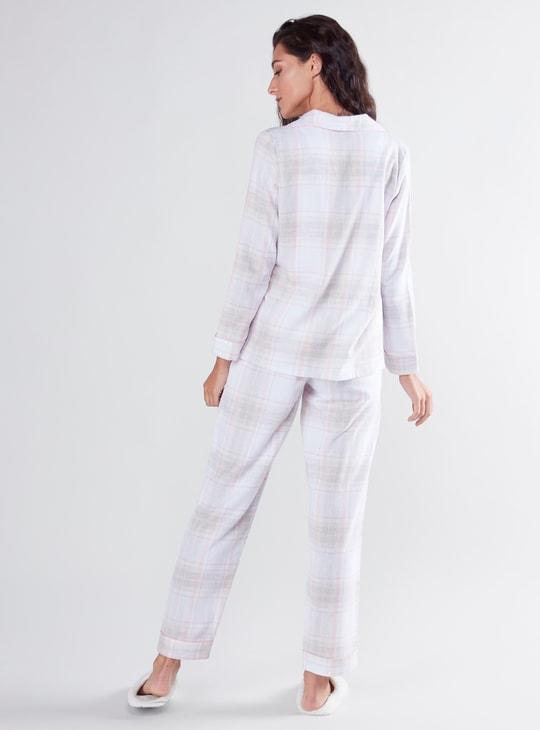 طقم قميص كاروهات بأكمام طويلة وبنطلون بيجاما