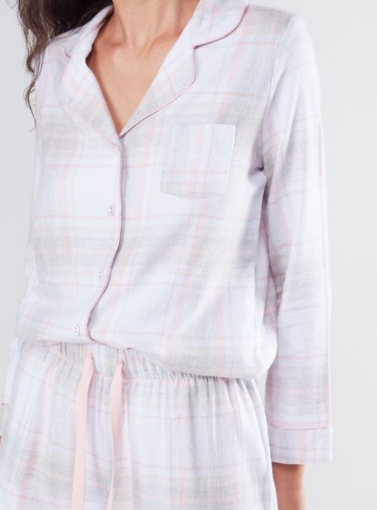 Checked Long Sleeves Shirt and Pyjama Set