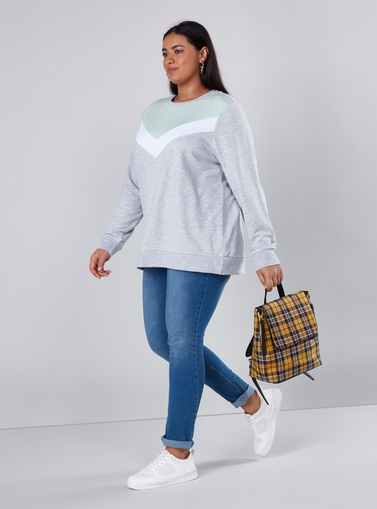 Melange Sweat Top with Round Neck and Long Sleeves
