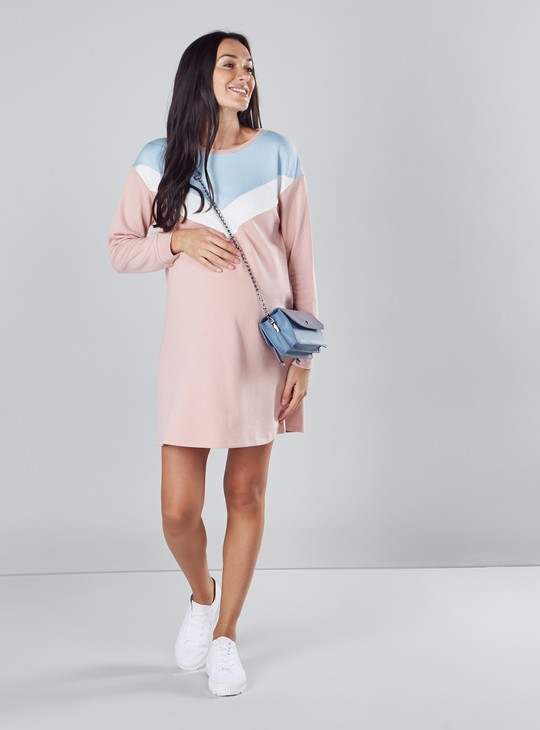Colourblocked Midi Shift Dress with Round Neck and Long Sleeves