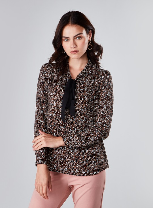 Printed Blouse with Long Sleeves and Kitty Bow