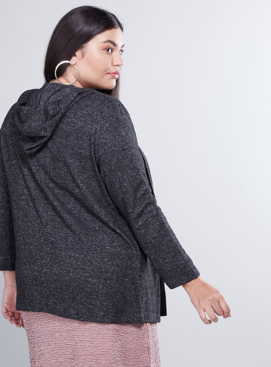 Textured Shrug with Long Sleeves and Hood