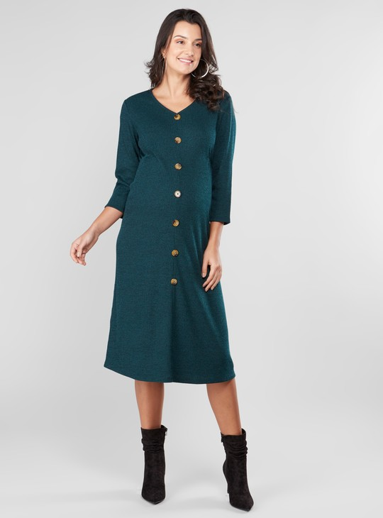V-neck Maternity Dress with Mock Button Placket