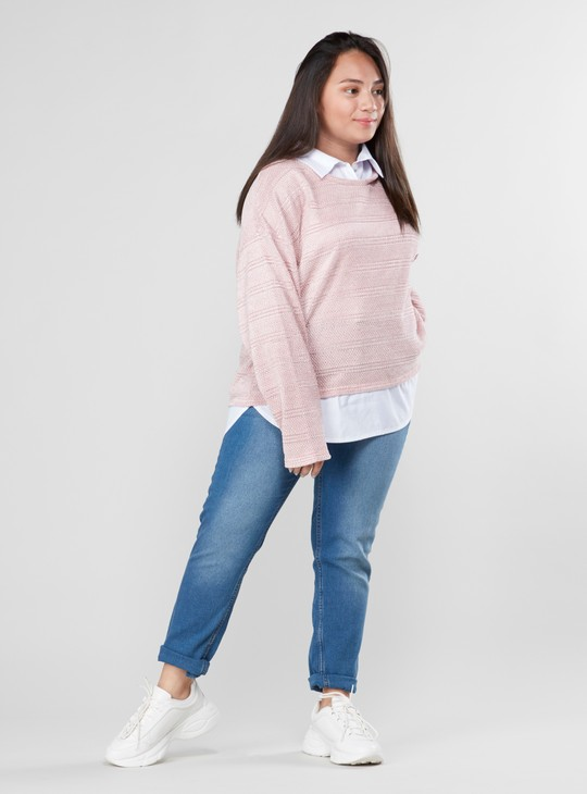 Textured Top with Long Sleeves and Button Detail