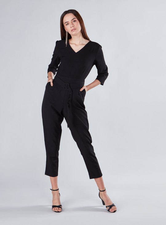 Plain Midi Jumpsuit with V-neck and 3/4 Sleeves