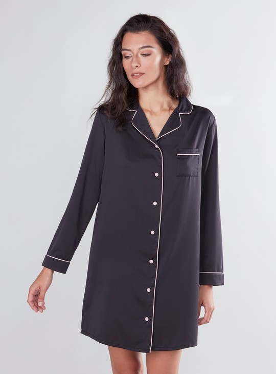 Collared Sleep Shirt Dress with Long Sleeves and Chest Pocket