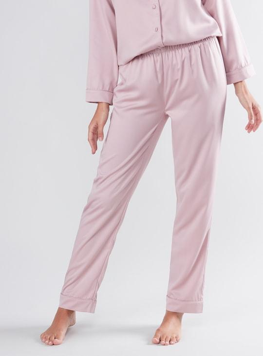 Solid Sleep Shirt and Pyjamas Set