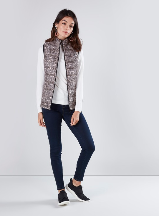 Animal Printed Gilet Jacket with Kangaroo Pockets and Zip Closure